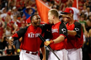 CINCINNATI, OH - JULY 13:  National League All-Star Todd Frazier #21 of the Cincinnati Reds celebrates with teammate National League All-Star Aroldis Chapman #54 of the Cincinnati Reds after winning the Gillette Home Run Derby presented by Head & Shoulders at the Great American Ball Park on July 13, 2015 in Cincinnati, Ohio.  (Photo by Rob Carr/Getty Images) ORG XMIT: 554358169 ORIG FILE ID: 480626732